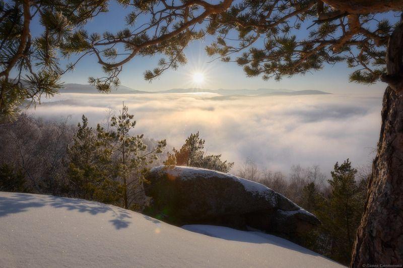 алтай, белокуриха, зима, закат, облака, солнце, горы, лес, снег, пейзаж, свет Когда в городе пасмурноphoto preview