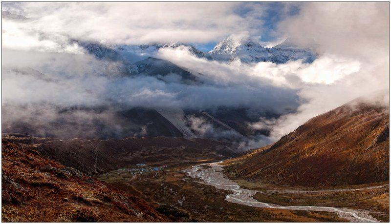 горы,горная деревня,река,долина,ледник,гималаи рассвет под Ама-Дабланомphoto preview