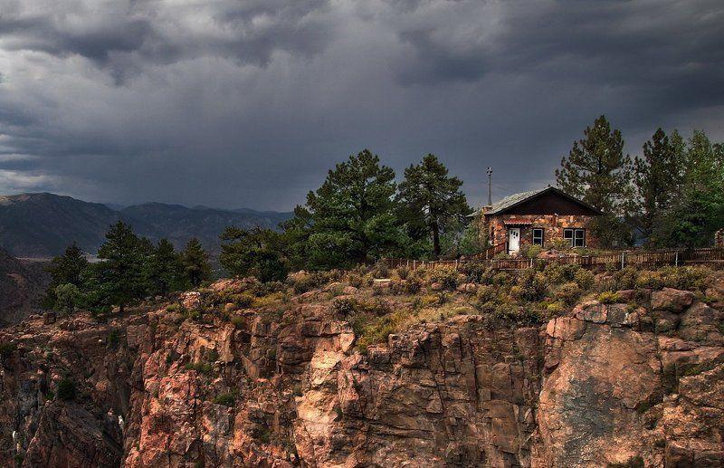 дома, горы, природа, ландшафт, пейзаж, небо, тучи, сша, колорадо, каньоны Домик на гореphoto preview