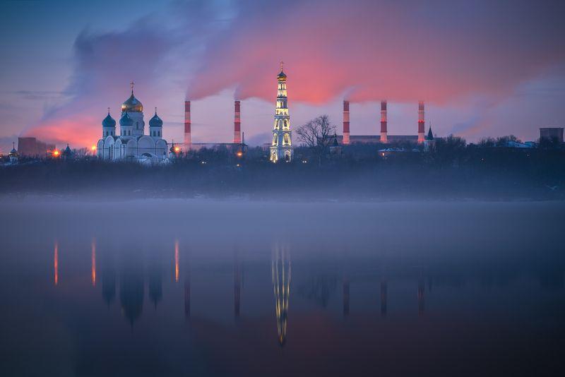 закат, река, туман, николо-угрешский монастырь, мороз вечер, пейзаж Николо-Угрешский монастырьphoto preview