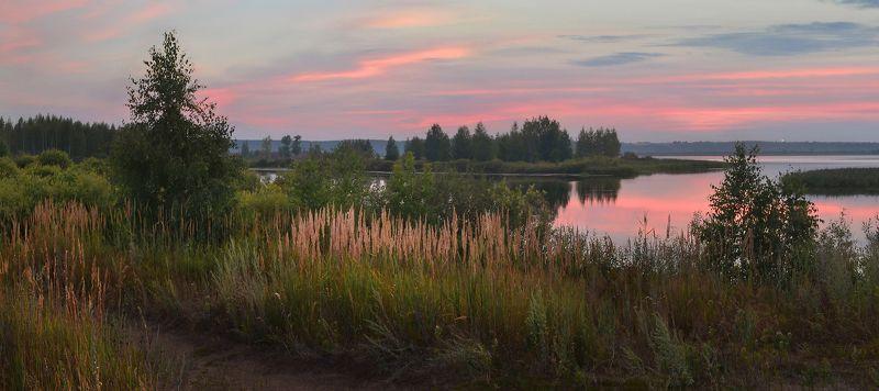 после заката, тишина, сумерки, небо, краски, озеро, лето, июль, травы Тихий вечерphoto preview