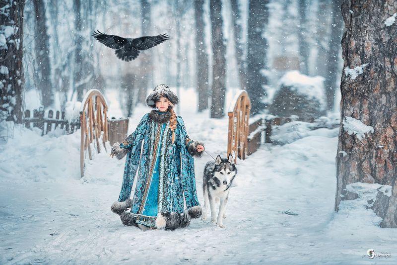 зима, ворон, собака, хаски, княжна, принцесса, снег, сказка, девочка, Княжнаphoto preview