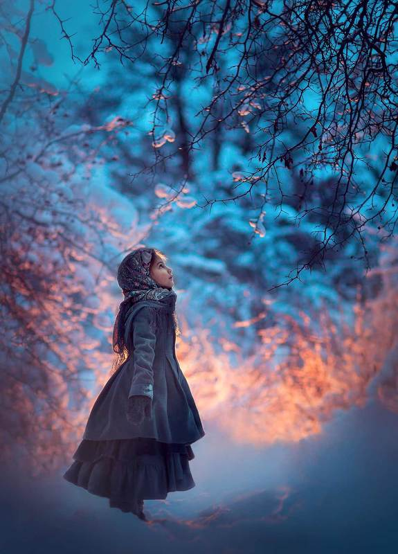 девочка, лес, вечер, зима, зимняя фотосессия, фотограф москва, фотосессия в москве, зимняя фотография, лесная photo preview