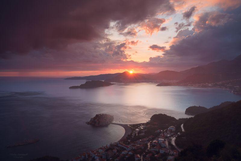 черногория, свети стефан, монтенегро, будва, будванская ривьера, адриатика, море, закат, горы, гроза, montenegro, budva, sveti stefan \