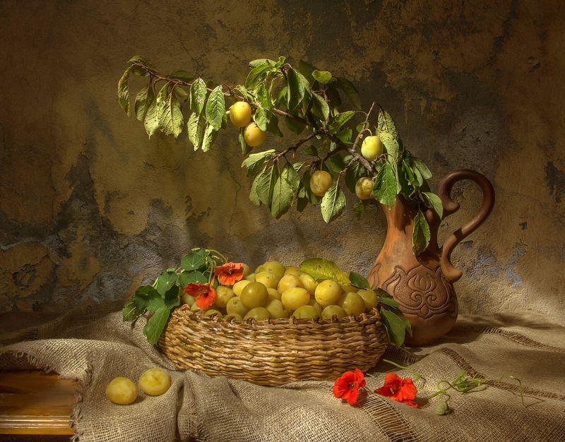 натюрморт, сливы, желтые, настурции С желтыми сливами...photo preview
