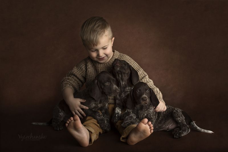 boy with puppiesphoto preview