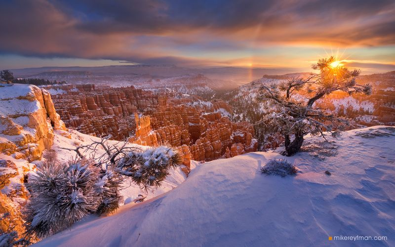 america,  arid,  beam,  beams,  beauty,  beginning,  below,  bryce,  canyon,  cold,  colorful,  dawn,  erosion,  formation,  geologic,  hoodoos,  landscape,  mountains,  national park,  sandstone,  scenic , seasons,  snow,  southwest,  spires,  start,  su Утро Нового Годаphoto preview