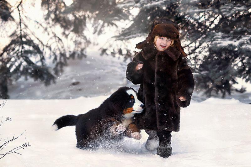 мальчик собака зима портрет Филиппокphoto preview