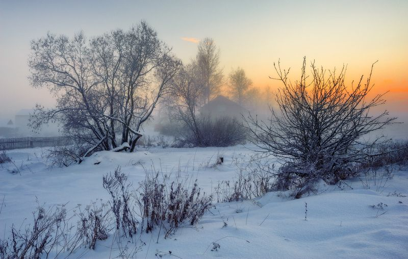 зима,вечер,туман,сумерки,снег,пейзаж В вечернем туманеphoto preview