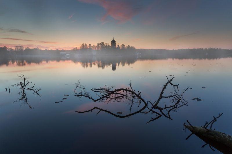 утро, Введенское, рассвет, оеро Утро у монастыряphoto preview