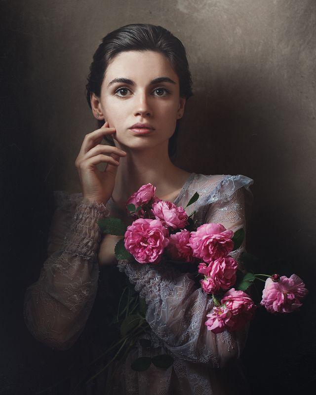автопортрет, портрет, розы Автопортрет с розамиphoto preview