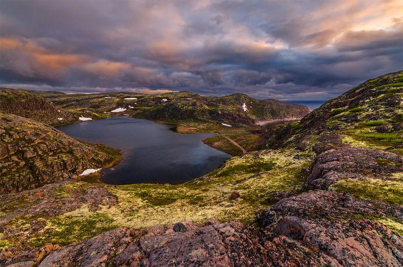 природа, пейзаж, север, кольский, панорама, природа россии, дикая природа, закат, свет, облака, вечер, тундра Заполярье летомphoto preview