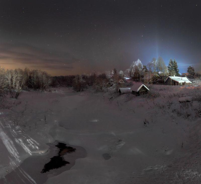 зима, деревня, ночь ,звезды Морозная ночьphoto preview