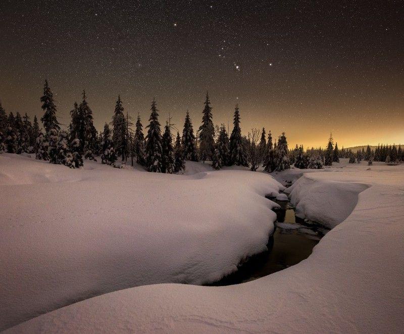 jizerka,snow,frozen,starscape,nighscape,stars,orion Frozen silent..photo preview