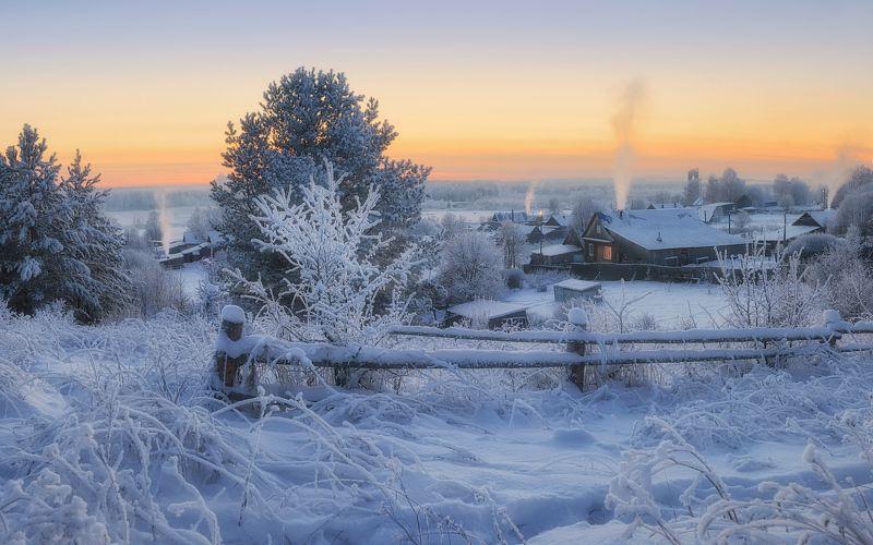 ограда,сумерки,зима Серебро закатаphoto preview