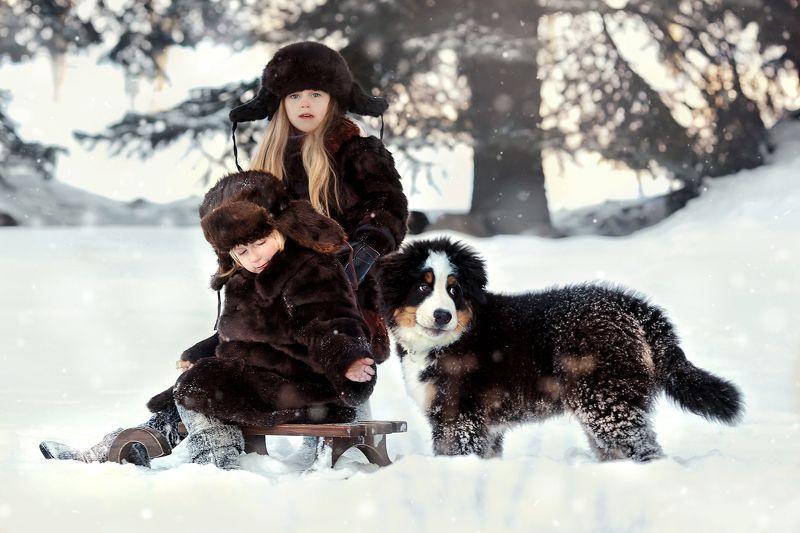 дети зима сани снег Крестьянские детиphoto preview