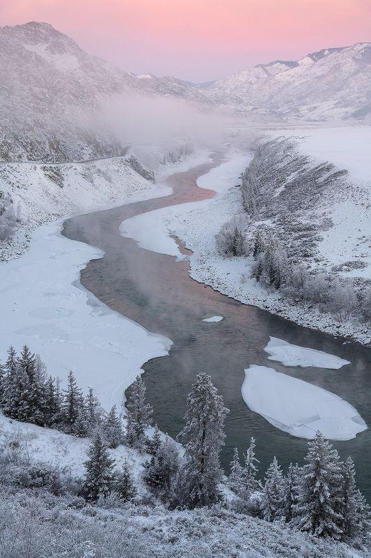алтай, сибирь, катунь, зима, стужа, утро, мороз Студёная Катуньphoto preview
