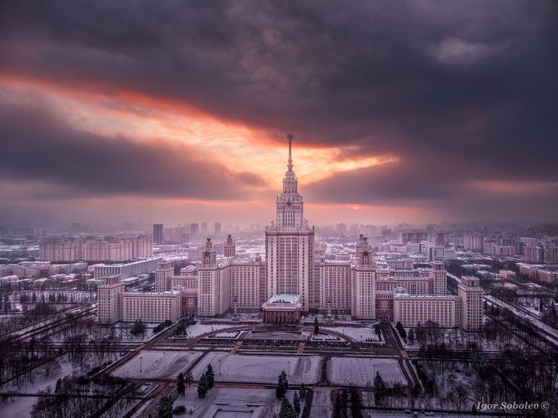 мгу, москва, вечер, закат, moscow state university, moscow, evening, sunset, аэрофотосъемка,aerial photography Закат над МГУphoto preview