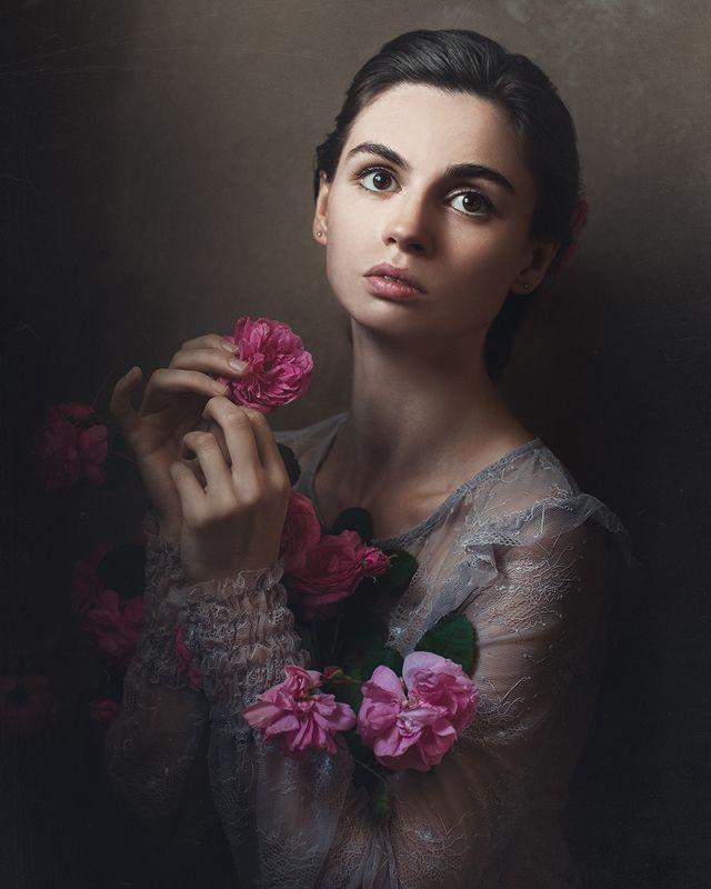 девушка, портрет , автопортрет, роза Автопортрет с розамиphoto preview