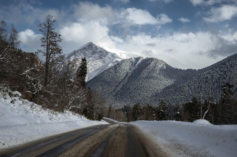 горы зима  снег холод мороз лес forest winter snow frost cold mountains landscape пейзаж природа  дорога road Дорога в Архыз.photo preview