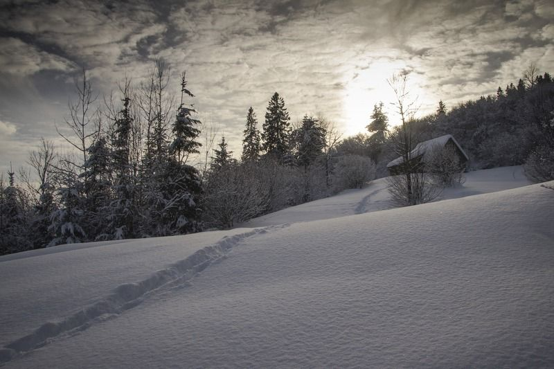 вечер, снег, зима, закат, облака ***photo preview