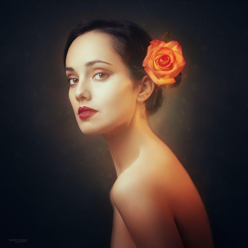 портрет, девушка, цветок, образ,глаза, Портрет М.photo preview