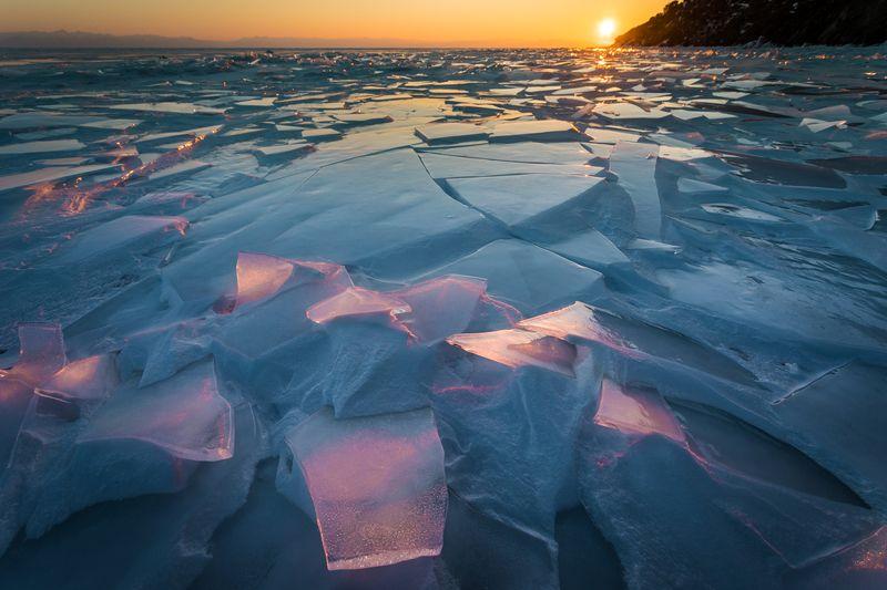 байкал, лёд, закат, зима, солнце сокровища Байкалаphoto preview