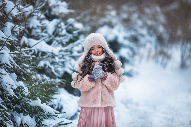 Девочка, зима, снег Зимаphoto preview