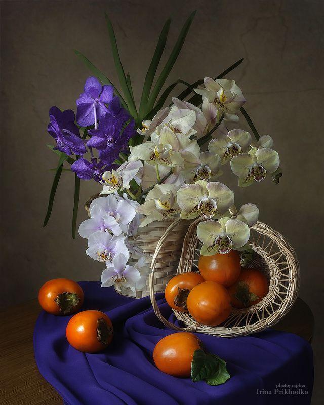 натюрморт, орхидеи, композиция, цветочный, флористика, фрукты, хурма Натюрморт с орхидеями и хурмойphoto preview