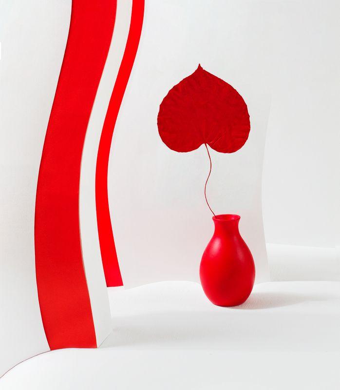 лист, ваза, красный, белый, натюрморт, сердце Цвет настроения красный =)photo preview