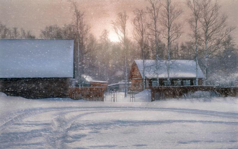 пейзаж,зима,снег,рассвет,посёлок,дача Зима.photo preview