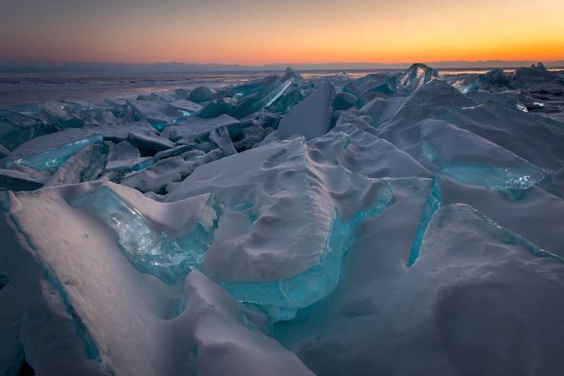 байкал, лёд, закат, зима, торосы Байкальский лёд.photo preview