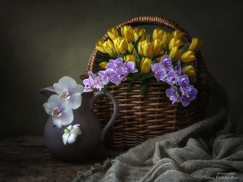 натюрморт, настроение, цветочная корзина, флористика, винтажный Скоро весна!photo preview