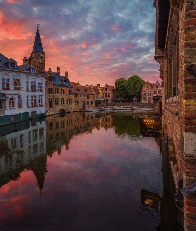 bruges, dawn, брюгге, бельгия, рассвет, утро, река, облака Bruges, dawnphoto preview