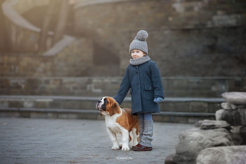 портрет, зима, winter, девочка, girl, животное, собака, сенбернар, щенок, dog, друзья, happy, happiness, сказка, волшебство ***photo preview