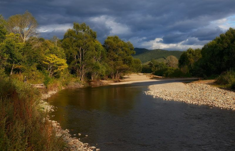 приморье осень река партизанская осеннее ненастьеphoto preview