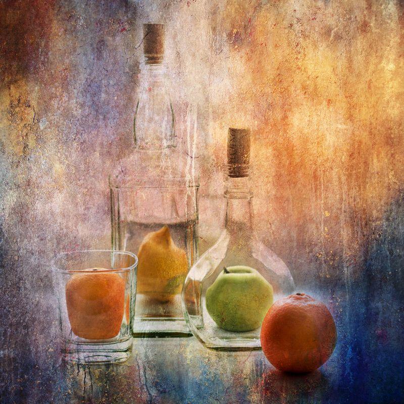 фото , цвет , натюрморт , бутылка , фрукты , стекло Натюрморт с фруктами и стекломphoto preview