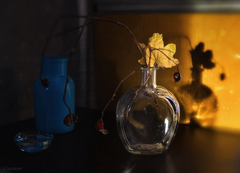 натюрморт,композиция,лист,сосуды,свет,луч,стекло Отражениеphoto preview