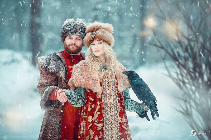портрет, семья, зима, ворон, князь, княжна, дворяне, снег, сказка ФП \