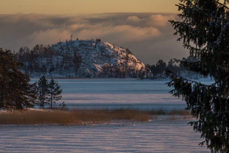 ладога, карелия, ладожское озеро, ладожские шхеры, зима, мороз, закат Чугунное небоphoto preview