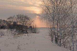 Морозно-пасмурный закат.