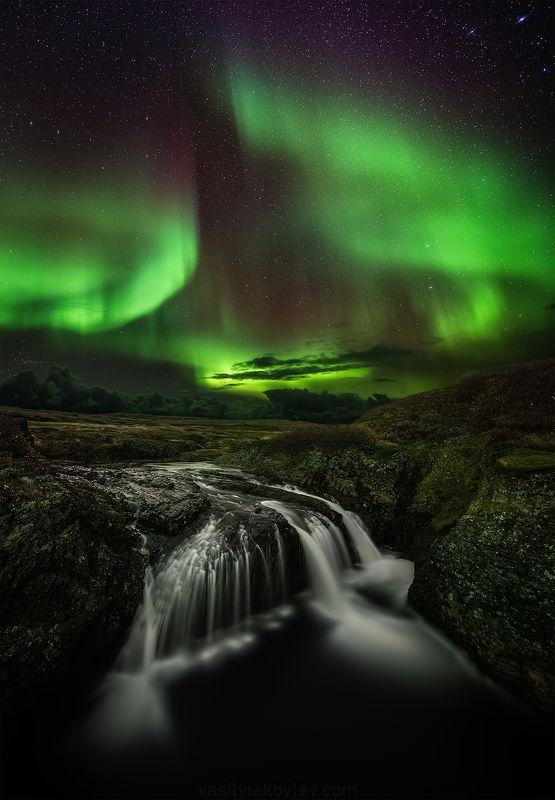 рыбачий, кольский, ночь, аврора Водопад Скорбеевскийphoto preview