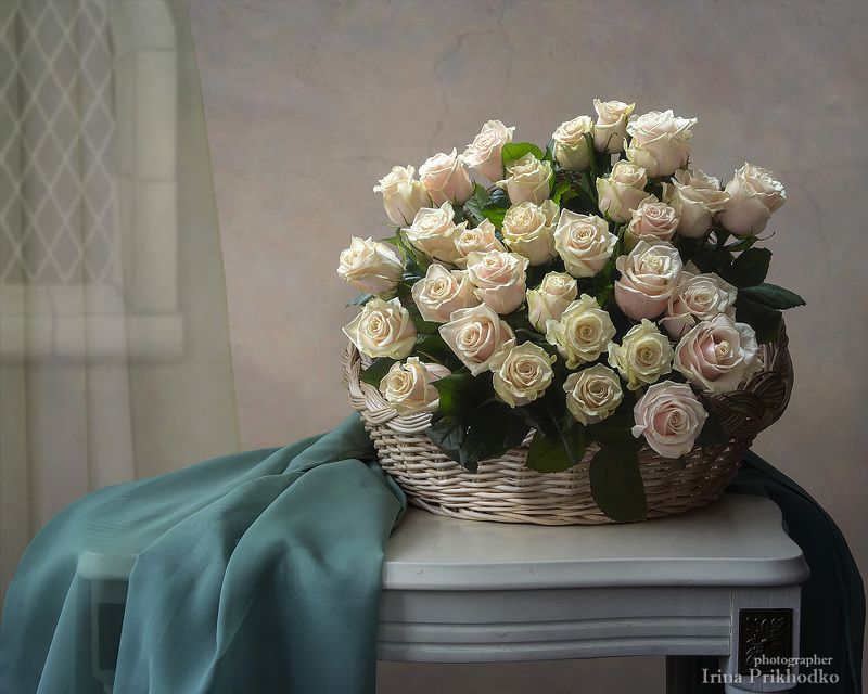 цветочный натюрморт, белорусские розы, корзина роз, натюрморт Натюрморт с белорусскими розамиphoto preview