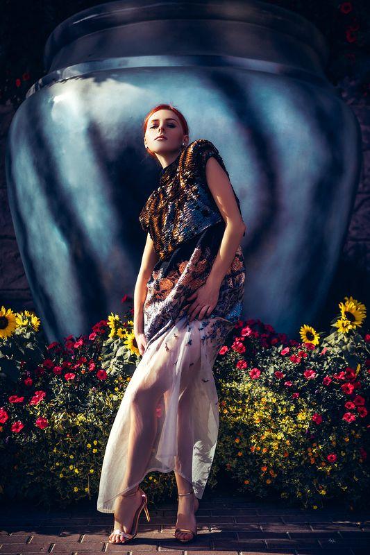 woman, beauty, fashion, art, outdoors, dubai In a flowers landphoto preview