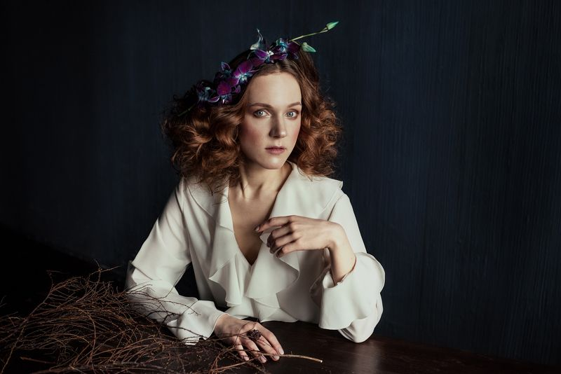 flowers, orchid, portrait, redhair, table, painting, vintage, branches Olga and Orchidphoto preview