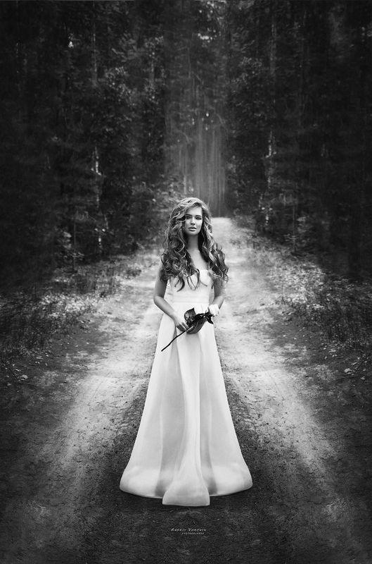 портрет,черно-белое,невеста,девушка, Розаphoto preview