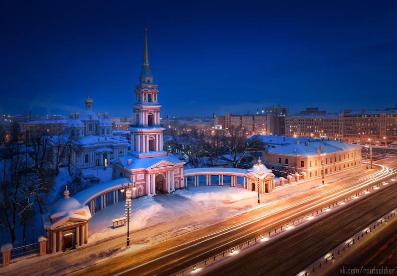 Крыша, церковь, город, пейзаж, выдержка, зима, снег, Санкт-Петербург Крестовоздвиженскийphoto preview