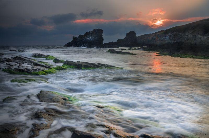 landscape nature seascape sunrise rocks coastal coast beach sea seaside scenery waves Waves welcome the sunphoto preview