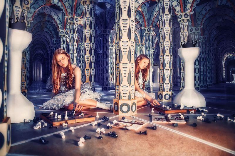 девушка, алиса, портрет, жанр, синий, сказка, girl, portrait, alice, fairytale, blue photo preview