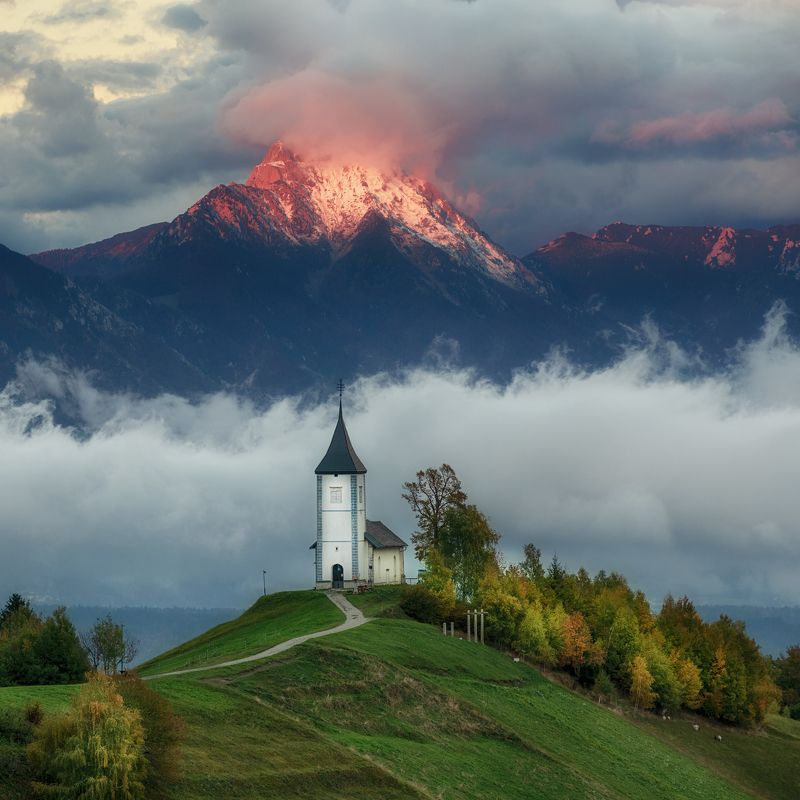 landscape, slovenija, nature, mountains, church Firephoto preview